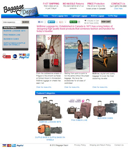 Baggage Depot website layout