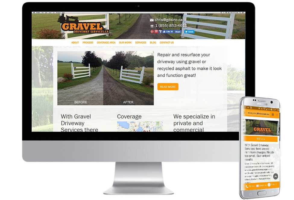 Gravel Driveway Services, Web Design, Mobile Web Site, Barrie, Toronto
