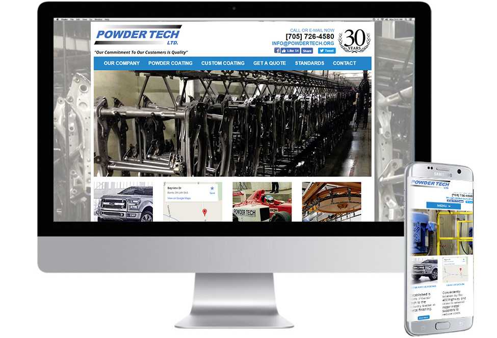 Powder Tech, Mobile Web Sites, Web Design, Barrie