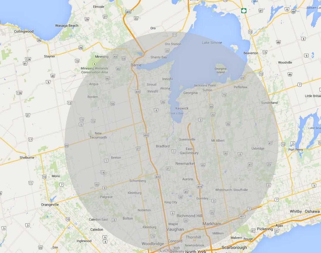Local Web Developers DS Digital Media Barrie - Coverage Map