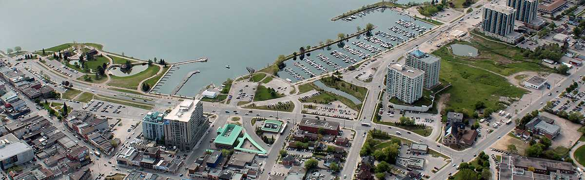 Web Development Barrie - Aerial Photo of Downtown Barrie